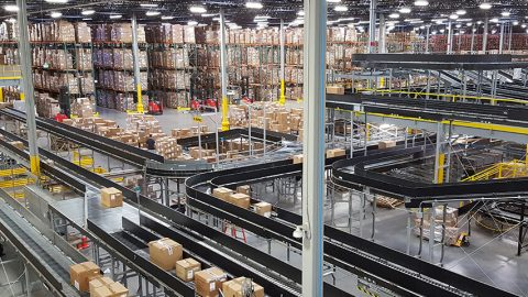 Large distribution center with Pyramid Warehouse Execution System