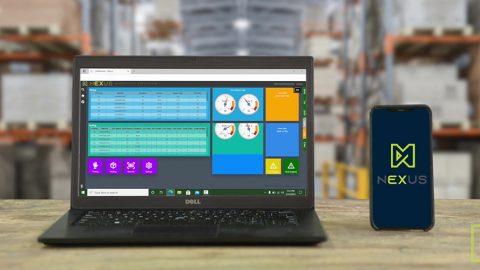 Matthews NEXUS Warehouse Execution System on a Laptop and a Mobile Phone